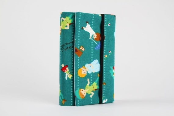 Adjustable paperback book cover - Peter Pan on emerald green