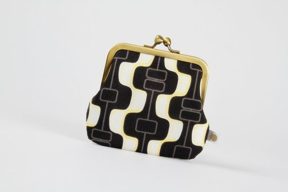 Siamese - Retro waves in black and white - double metal frame purse