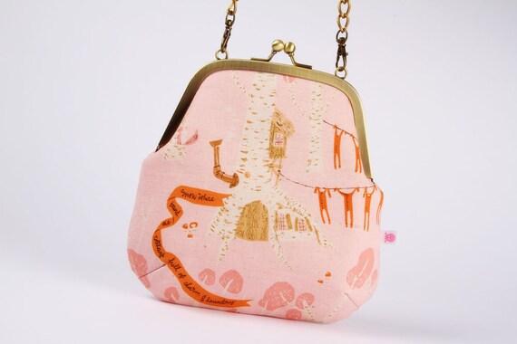 CIJ sale -Clutch bag - Seven dwarves in pink  - metal frame purse with shoulder strap