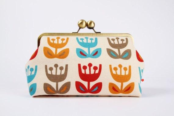 Home pouch - Tulipe dawn - metal frame clutch bag