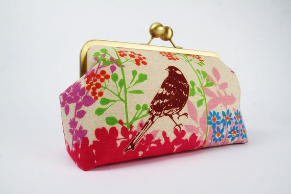 Home pouch - Etsuko birds and leaves in pink - metal frame clutch bag