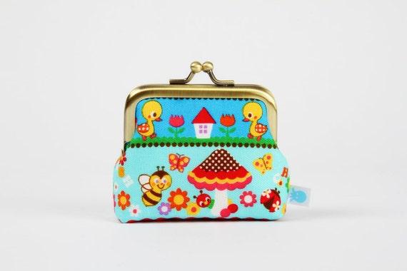 Deep mum - Kawaii ducks and bees on blue - metal frame purse