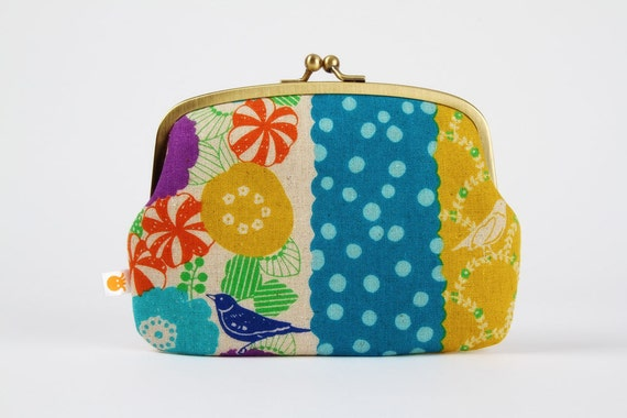 Maxi siamese - Echino floral stripes in green and blue - double metal frame purse