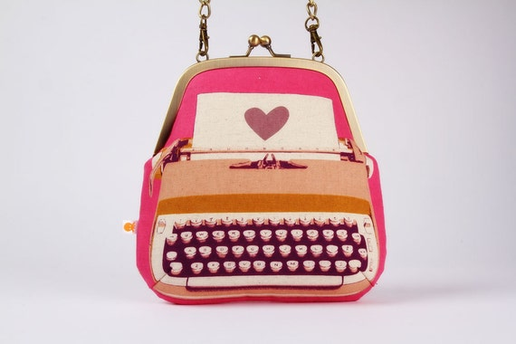 Clutch bag - Typewriter in pink - metal frame purse with shoulder strap