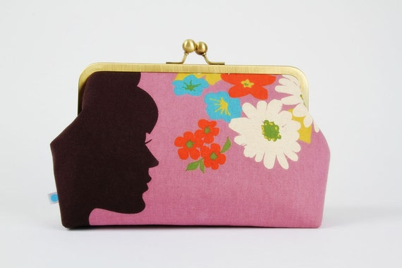 Cosmetic pouch - Girl's silhouette on purple - metal frame clutch bag