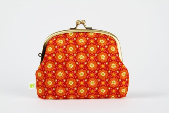 Pop up - Blooms in sunset - double metal frame purse