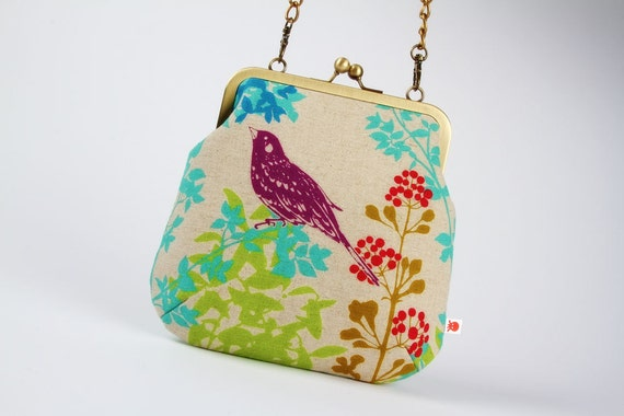 Clutch bag - Echino bird on green - metal frame purse with shoulder strap