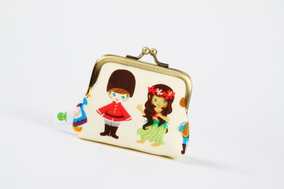 Deep mum - Cute kids on yellow - metal frame purse