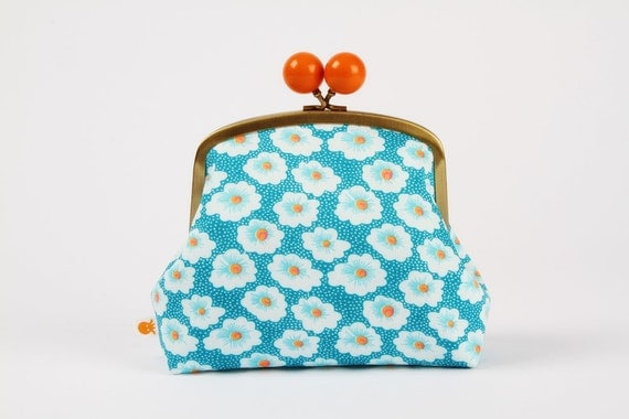 Color bobble pouch - Petit Pan Osami turquoise - metal frame pouch