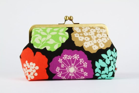 Clutch bag with metal frame - Echino Big flowers on black - Cosmetic purse / Autumn garden inspired / Modern floral teal / Lime green