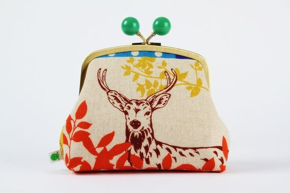 Color bobble pouch - Echino forest patchwork in yellow - metal frame pouch