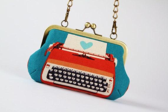 Metal frame handbag with shoulder strap - Retro typewriters on blue - Party purse / red peach / Melody Miller / Vintage inspiration modern