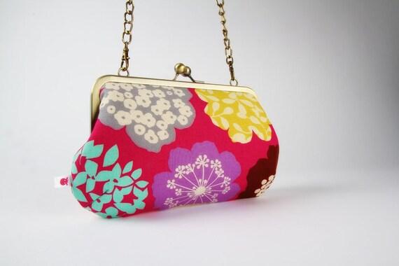 Little handbag - Echino big flowers on pink - metal frame purse with shoulder strap
