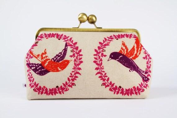 Home pouch - Etsuko birds in love - metal frame clutch bag
