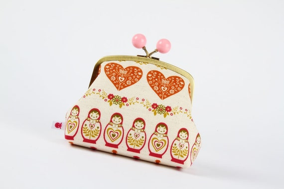 Color bobble pouch - Love Matryoshka - metal frame clutch bag