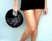 Small round handbag black, hand painted in white