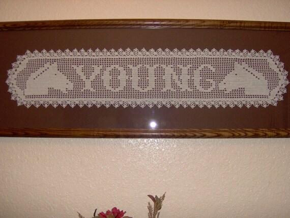 filet crochet name plaques