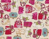 Handbags Purses Bags Glamour Collection Cream by The Henley Studio for Andover Makower UK Fabrics - 1 yard