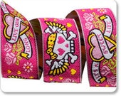 SALE Tattoo Skulls Hearts and Roses Girly Pink designed by Raphael Kerley Woven Jacquard Ribbon 7/8 inch - 1 yard
