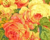 Carla Miller TANGERINE Pink Bouquet Lily Rose Collection  - 1 Yard