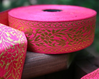 Jacquard METALLIC FLORAL Gold on Fuchsia Ribbon 1 1\/2 inch width (38 mm) - 2 yards