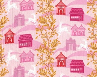 Little Folks FOREST HILLS Village Deer in Berry Pink Cotton Voile Fabric by Anna Maria Horner - 1 yard