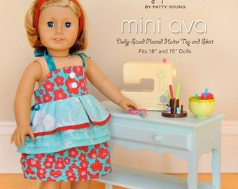 SALE Modkid Mini Ava Dolly Sized Pleated Halter Top and Skirt Pattern by Valerie Haberer for Patty Young