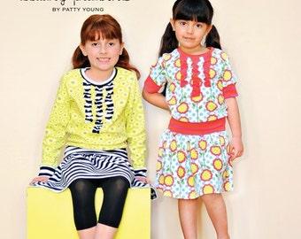 SALE Modkid MAYA Ruffled Shirt Yoga Skirt Dress Boutique Pattern size 2t - 8 by Patty Young