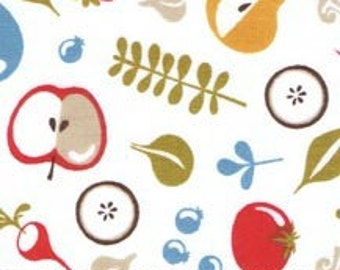 Mod Kitchen Fruit and Veggie Toss White by Helen Dardik Cotton Fabric P & B Textiles  - 1 Yard