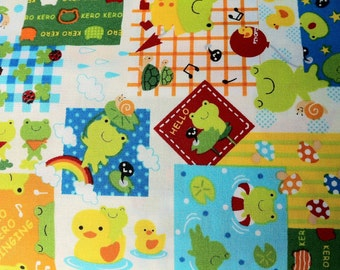 Patchwork Animals Rainy Day Frogs by cosmo textiles Japanese Import Cotton Fabric - 1 YARD