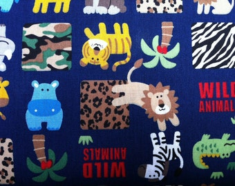 Wild Animals Jungle Squares on Navy by cosmo textiles Japanese Import Cotton Fabric - 1 YARD