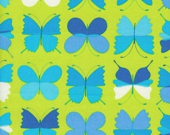 Turquoise Aqua Blue Butterflies on Lime Green Marmalade Collection Timeless Treasures by Alice Kennedy - 1 yard