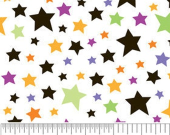 Trick or Treat Halloween SPOOKY STARS White Cotton Riley Blake Fabrics  - 1 Yard