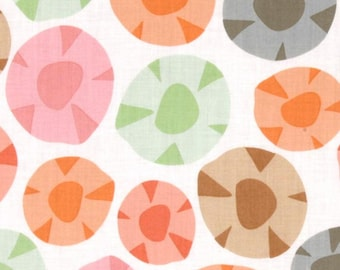 Garden Party Flower Circle Dots Sage Green on White by Jane Dixon for Andover Fabrics - 1 yard