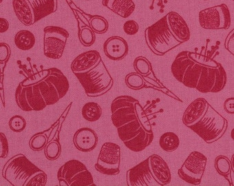 Sew Lovely Tonal Pink Red Notions the Henley Studio for Andover Makower UK Fabrics - 1 yard