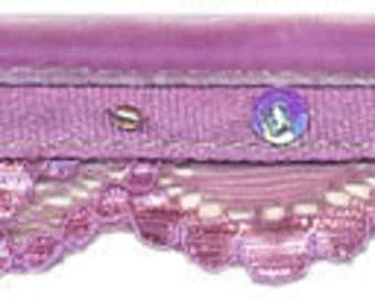 Lilac Light Purple Raschel Lace with Sequins Beads and Velvet Ribbon Trim - 2 Yards