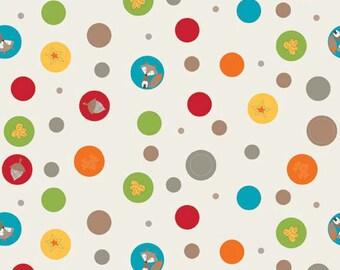 Fox Trails Cream Dots Circles Camping Outdoor Fun by Doohikey Designs Cotton Riley Blake Fabrics  - 1 Yard