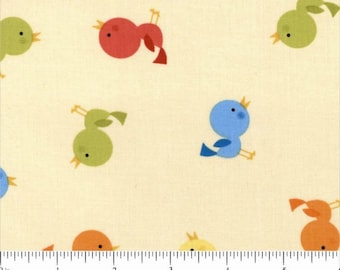 Baby Birdie Birds Multi Color Sweet Tweet Butter Cream Fabric by Alice Kennedy for Timeless Treasures - 1 yard