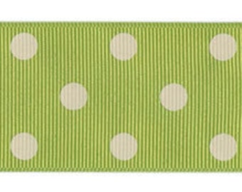 Light Green Celery and Ivory Polka Dot Wide Grosgrain Ribbon Trim 1 1/2 inch - 3 Yards
