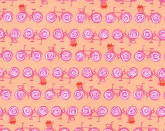 Weekends Go By Bike Peach by Erin McMorris for Free Spirit Fabrics - 1 yard
