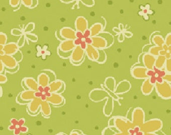 Backyard Butterfly Florecitas Apple Pear Green and Coral Flowers Benartex Fabrics  - 1 Yard