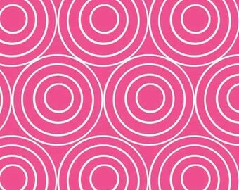 Swirly Circles Raspberry Pink Dazzled Cotton Fabric by Adornit Adorn It Carolees Creations - 1 yard