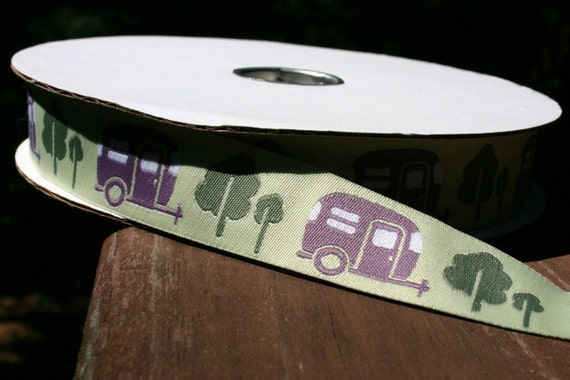 Purple Retro Travel Trailer CAMPERS on Green Woven Jacquard 7/8 inch Ribbon Trim - 1 yard
