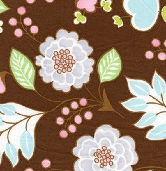 SALE Leanika Brown Floral by Dena Fishbein for Free Spirit Fabrics  - 1 yard