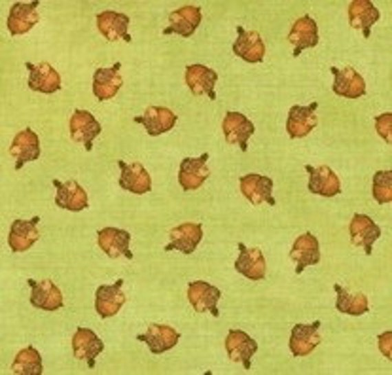 Tiny Tossed ACORNS Sage Green Brown Back to Nature Bear Lake Cotton by Blank Textiles Quilting Fabrics - 1 Yard