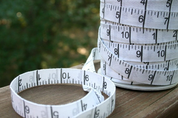 Cotton Twill MEASURING TAPE Ruler Ribbon Double Sided White 5/8 inch  - 3 yards