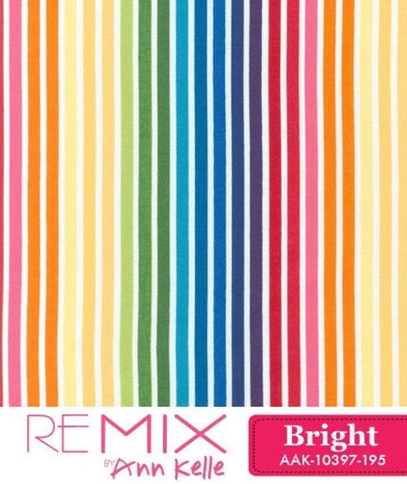 Remix Rainbow STRIPES Bright Striped by Ann Kelle for Robert Kaufman Fabrics - 1 Yard