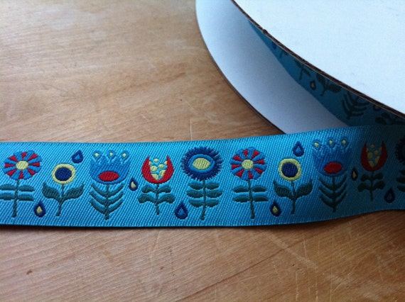 Light Blue Turquoise Funky Flowers by Jessica Jones Woven Jacquard 7/8 inch Ribbon Trim - 1 yard