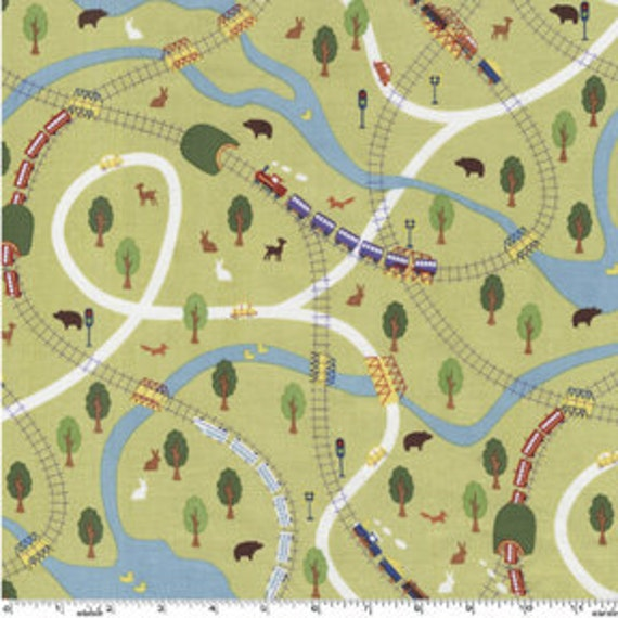 Going Places Trains and Automobiles Retro Look on Lime Green by Michael Miller Fabrics  - HALF yard
