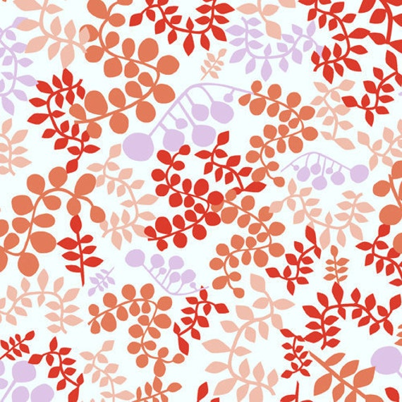 Outfoxed Outsmarted Foilage Branches Leaves in Orange by Lizzy House for Andover Fabrics - 1 yard